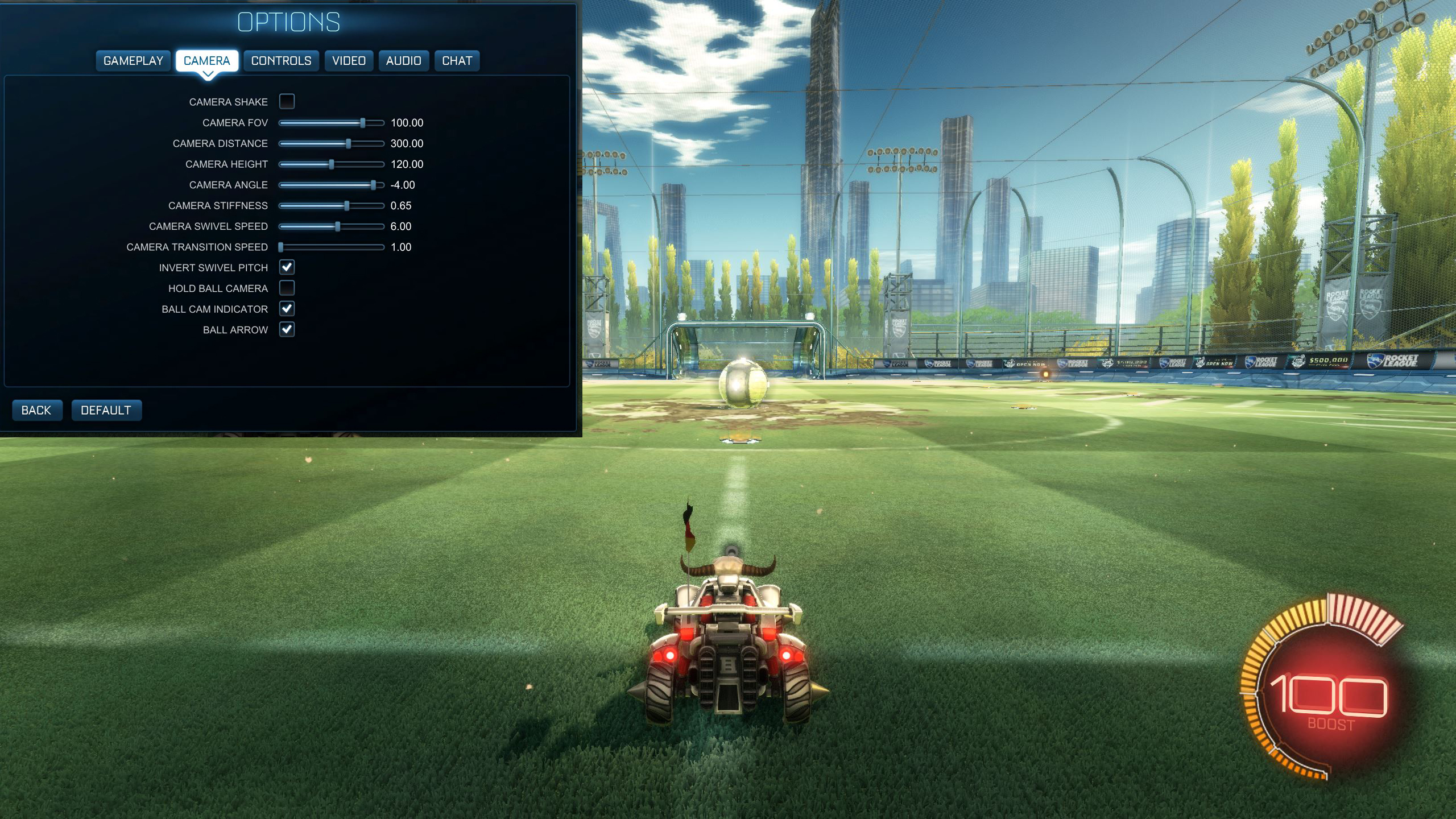 Rocket League camera settings Jacob